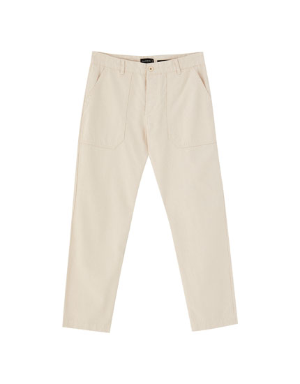 Worker-style chinos with cargo pockets