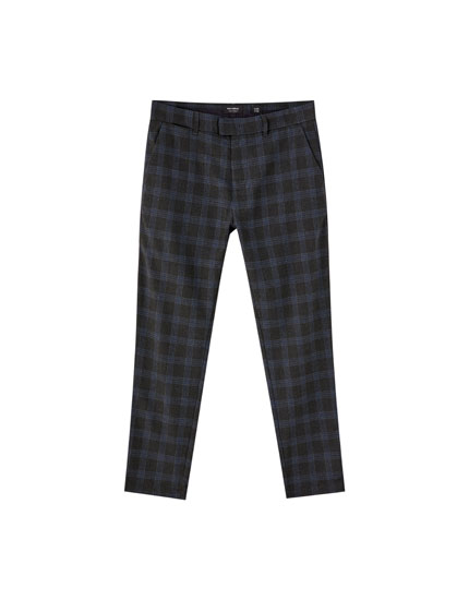 Tailored check print chino trousers