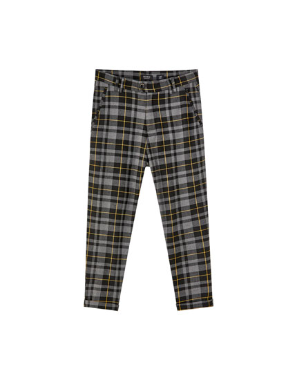 Tailored contrast check print trousers