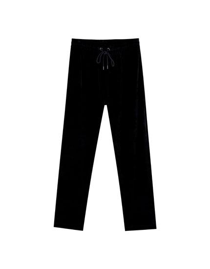 Pantalon jogging velours noir