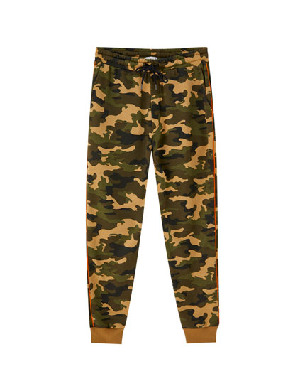 Camouflage joggers with side piping