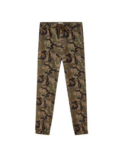 Coloured camouflage beach trousers