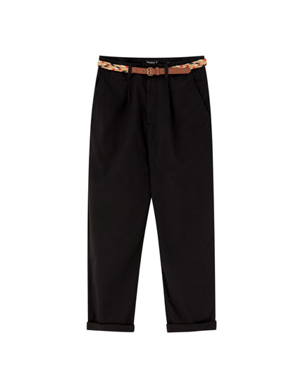 Loose fit chino trousers with belt