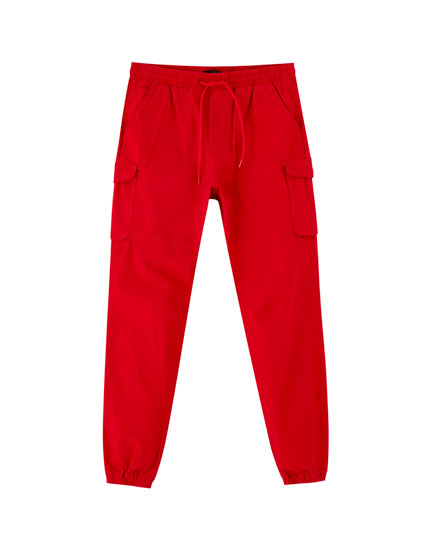 Cargo trousers with elastic waistband