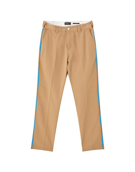 Worker chino trousers with side stripes