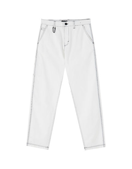 White carpenter trousers with contrast seams
