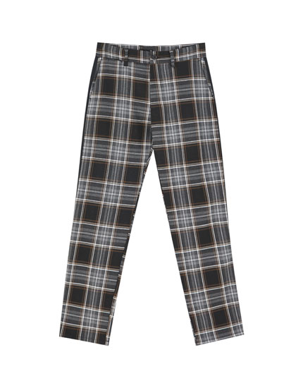 Tailored check trousers with side trims