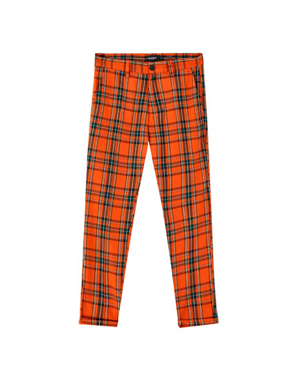 Orange check print tailored trousers