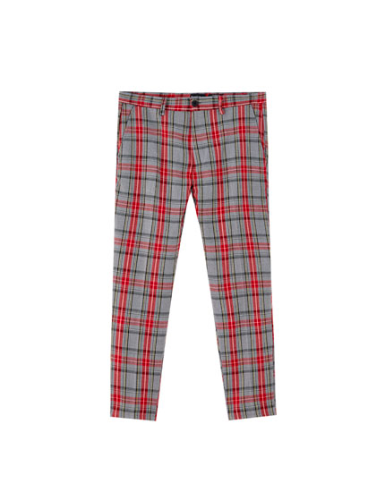 Red check print tailored trousers