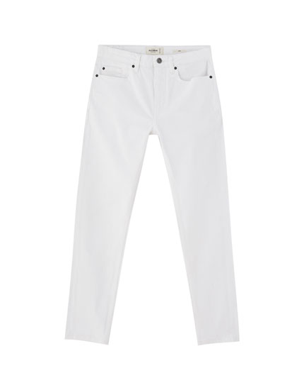 Pantalón vaquero blanco slim fit