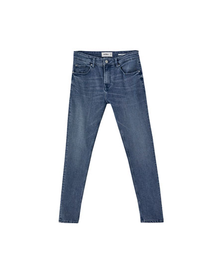 Skinny jeans with a distressed finish