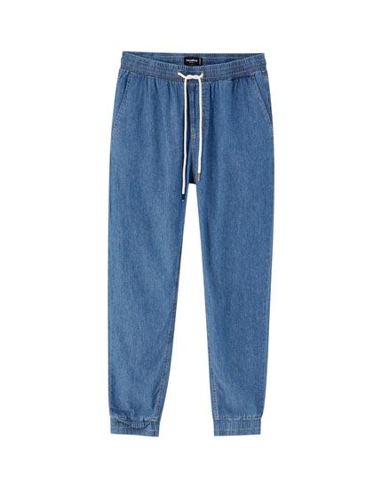 Drawstring denim beach trousers