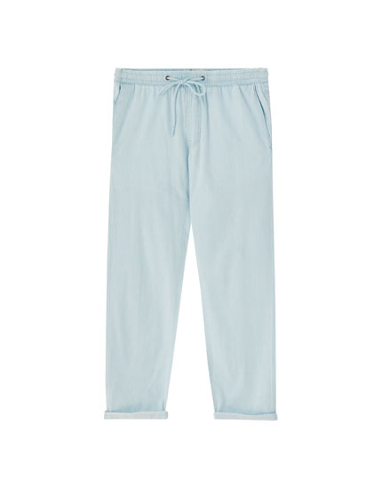 Chambray denim tailored trousers
