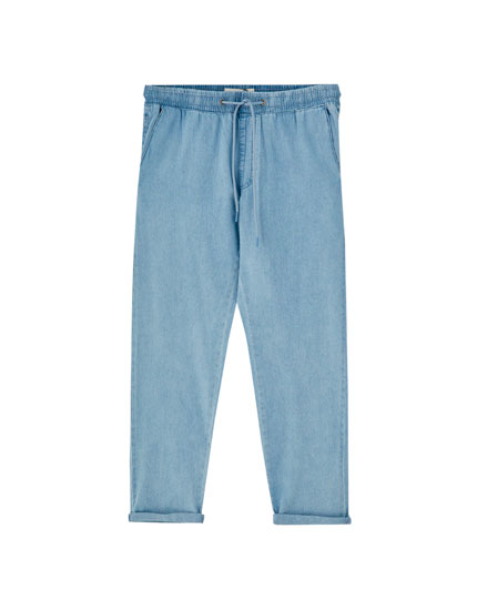 Pantalon en denim coupe tailleur chambray