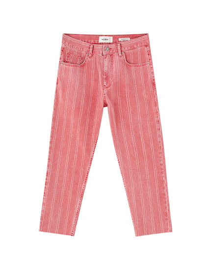 Cropped slim fit trousers with double-stripe print