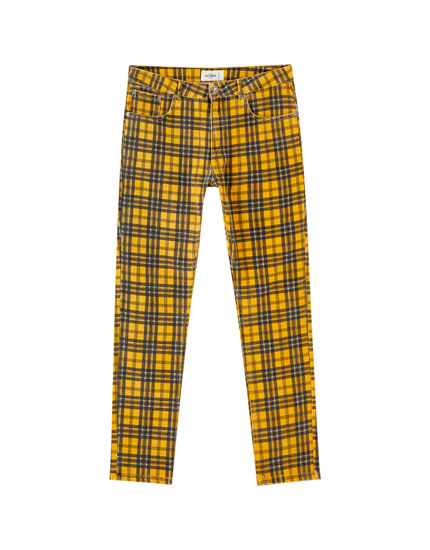 Mustard check trousers