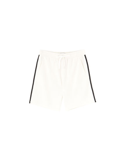 Jogging-style Bermuda shorts with side stripes