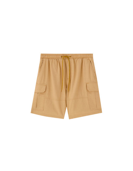 Cargo Bermuda shorts with drawstring