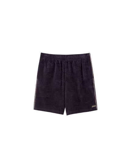 Velvet jogging-style Bermuda shorts