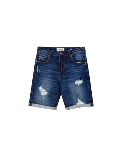 925526598d Basic ripped denim Bermuda shorts - PULL&BEAR