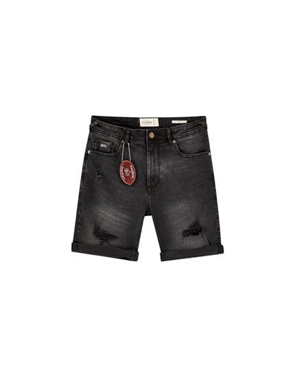 Basic ripped denim Bermuda shorts