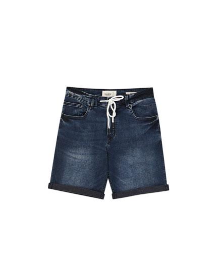 Skinny fit denim Bermuda shorts