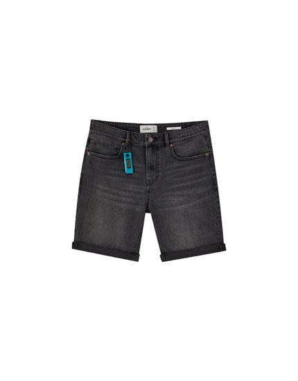 Black slim fit comfort denim Bermuda shorts
