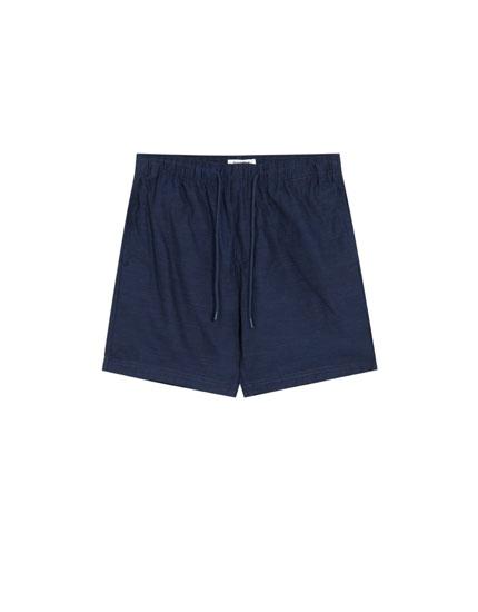 Basic plain Bermuda shorts with drawstrings
