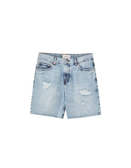 Denim Bermuda shorts with frayed hems