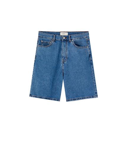 Light wash loose fit denim Bermuda shorts