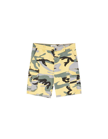 Yellow camouflage Bermuda shorts