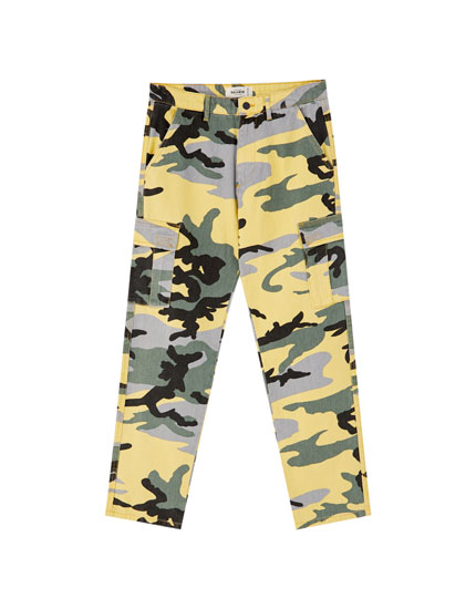Yellow camouflage jeans