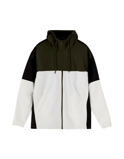 Hooded jacket with panels