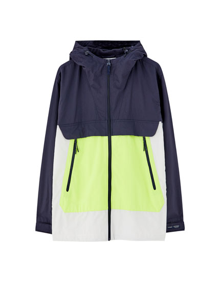 Colour block raincoat with hood