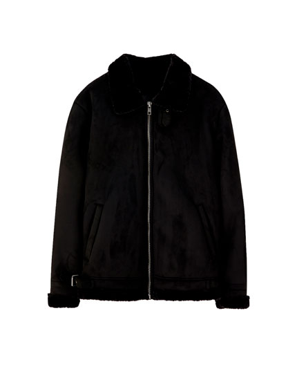 Black double-sided faux shearling jacket