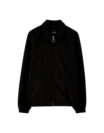 Collared faux suede jacket