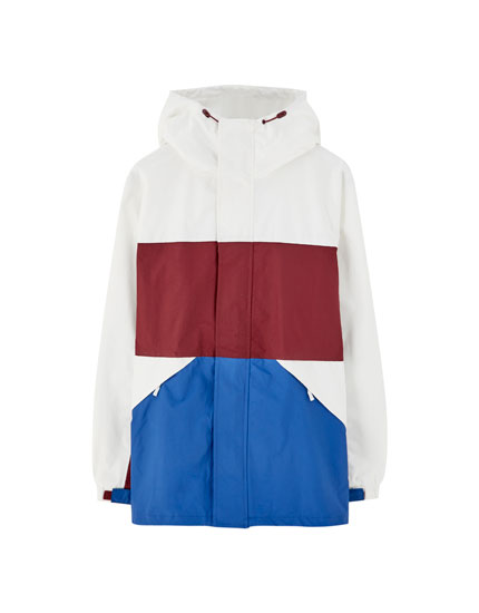 White hooded jacket with colour blocking
