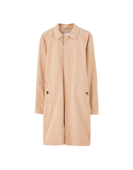 Cotton trench coat with print details