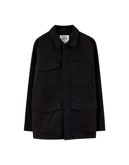 Kort utility-jakke i bomuld