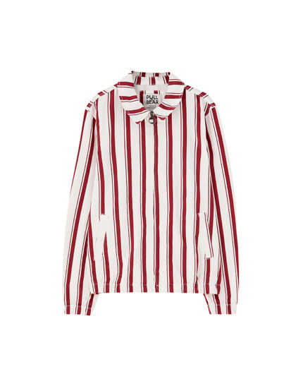 Burgundy striped jacket with zip
