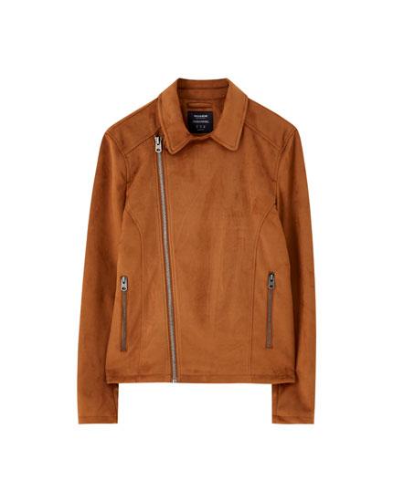 Kort jakke i imiteret ruskind med lynlås