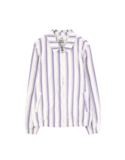 Striped jacket with zip fastening