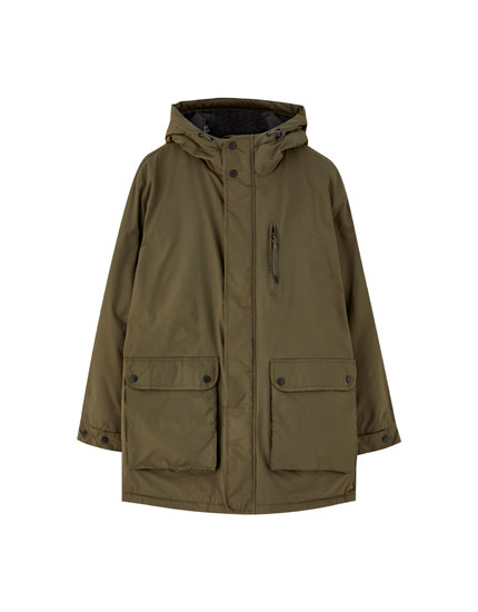 Quilted parka with hood and pockets