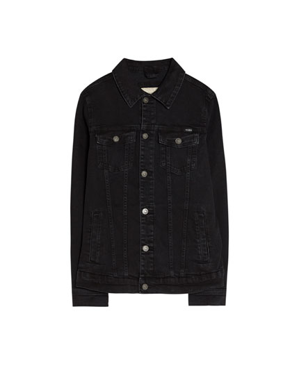 Black faded denim jacket