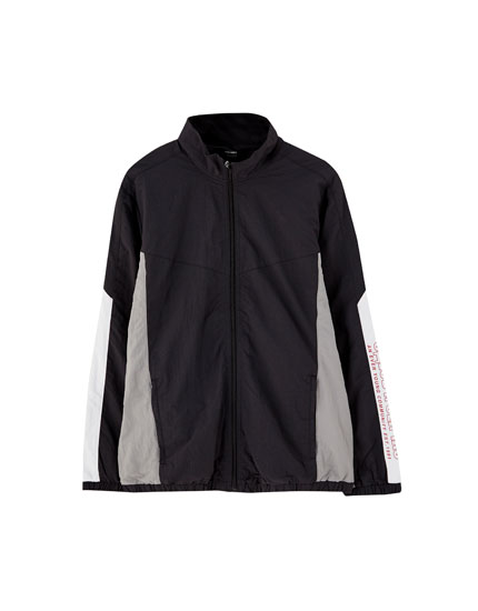 Nylon panelled tracksuit jacket