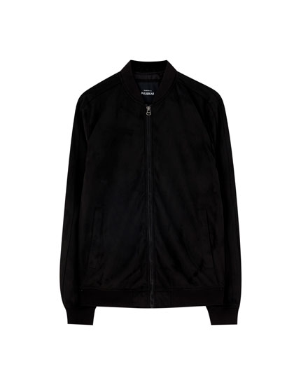 Black bomber jacket with faux suede trims
