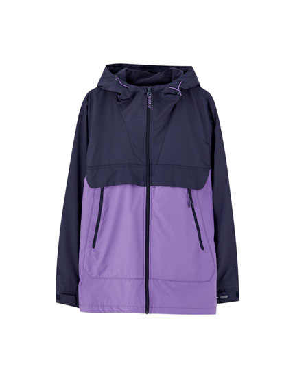 Colour block zip-up raincoat