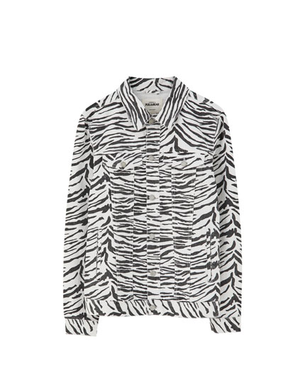 Denim jack met zebraprint