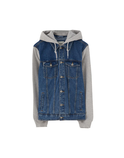 Denim jacket with contrast sleeves