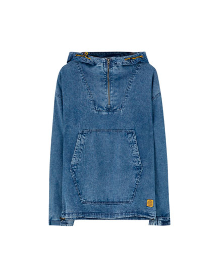 Denim pouch pocket jacket